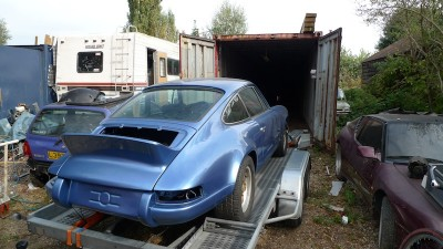 My Porsche 911 being shipped off to a sea container