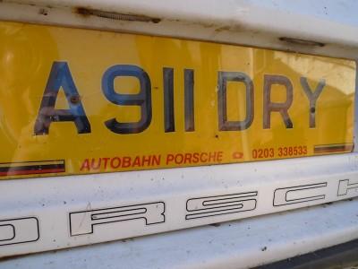 A 911 DRY Porsche personal registration plate